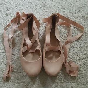 BCBG lace up ballet flat